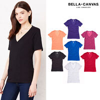 Bella + Canvas Womens Deep V-Neck T-Shirt 6035 - Jersey Fit Short Sleeves Top