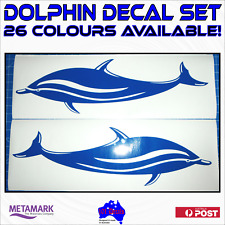2x59cm DOLPHIN marine grade decals sticker for Fishing Boat,Caravan,Camper,Car