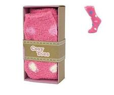Cosy Toes Pink Multi Spot Ladies Fluffy SLIPPER Socks Size 4-7 Boxed Adults