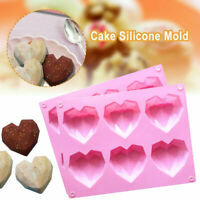 1PC Silicone 3D Heart Shape Fondant Cake Chocolate Baking Mold Mould Modelling~~