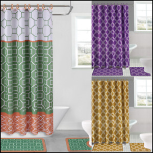 15 Pieces Bath Rugs and Shower Curtain Octagon Diamond and Honey Comb Design