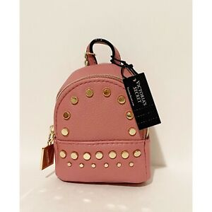 Victoria's Backpack Charm Wild Rose Faux Leather with Gold Tone Studs Keychain