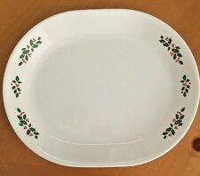 Corelle Oval Serving Platter Winter Holly Tray Christmas Holly Berries 12 Inch