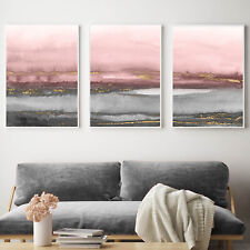 Grey Pink Gold Abstract Wall Art 3 Piece Set Watercolour Painting Print Poster