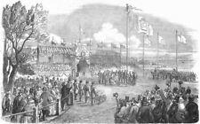 PORTUGAL. Start of Lisbon Railway, Queen, antique print, 1853
