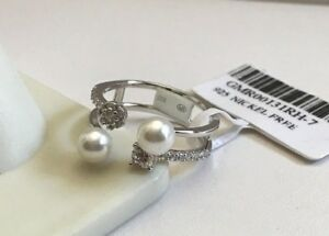 TWO ROW  RING W/ LAB DIAMONDS & WHITE PEARLS / 925 STERLING SILVER /SZ 6,7,8