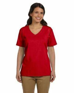 5 pack! Hanes Ladies xl  Tagless V-Neck T-Shirt 100% ComfortSoft Cotton 5780