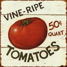 "Vine Ripe Tomatoes Retro Vintage Tin Bar Sign Country Home Decor 11"" x 11"""