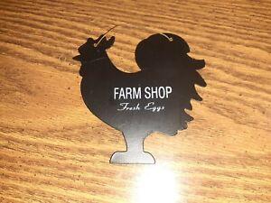 BLACK Farm Shop Fresh Eggs ROOSTER SILHOUETTE Farmhouse Chicken METAL WALL ART