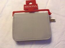 Merona Small Zippered Faux Leather Wallet Drizzle Gray In Color