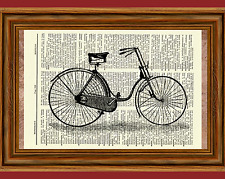 Vintage Bicycle Dictionary Art Print Poster Picture Antique Bike Basket Wheels