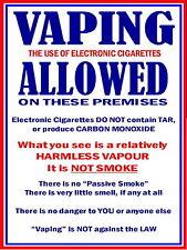 Vaping is Allowed metal Aluminium Sign / rda rta vaping ecig