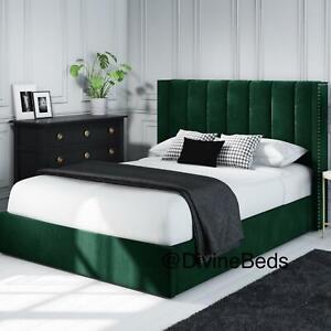 Green Panel Upholstered Bed Plush Velvet Wingback Design