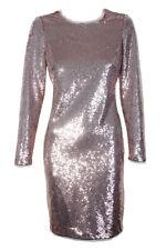 Calvin Klein Rose Gold  Sequin Long-Sleeve Sequined Knee Length Sheath Dress 4