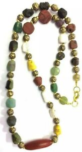 Natural Antique Agate Pendant with Gabri Roman Glass Beads Necklace Jewelry