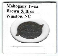 Mahogany Twist Chewing Tobacco Tag Brown & Bros. Winston Nc Embossed
