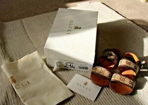 Girls Gucci Sandals, Brown Leather, EU 29, Boxed