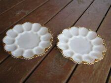 2 pcs Vintage Milk Glass Egg Plate Gold tone edges