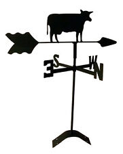 cow weathervane black wrought iron look roof mount Tls1010Rm