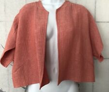 $1580 AKRIS Short Bolero Linen Jacket Pink Coral Salmon Size 16 Short Sleeve