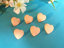 """911B Charming Buttons """" Small Heart """" Pink Set Of 6 Buttons Period 1950"""