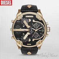 ✅ DIESEL Original DZ7371 Men's Gold/Black Dial New Watch w/ Black Leather Strap