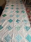 Patchwork+Quilt+Table+Or+Bed+Topper+Squares%2FDiamonds%2C+White%2CAqua+%26+Blues