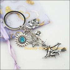 Fashion Halloween Witch Sunflower Star Cross KeyChain Tibetan Silver Charms