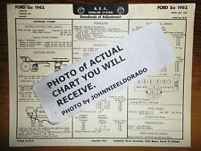 1962 Ford Six Series Fairlane, Fairlane 500 & Galaxie Models Aea Tune Up Chart