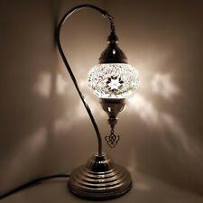 Turkish Table Lampe Argent / Chrome Bureau Verre Clair Mosaïque Ce Et GB
