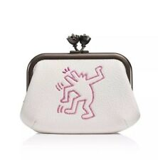 NWT Coach Keith Haring Kisslock frame pouch glitter dancing man chalk-sold Out