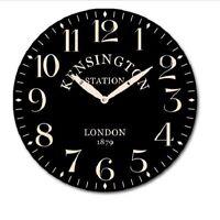 New 28.8CM MDF Round Wall Clock Home Decor Black Clock Kensington Station
