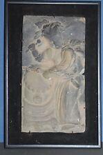 Antico XVIII Secolo Cinese incorniciato Stone Memorial / funereal TILE / pannello, c1790