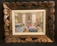 VINTAGE ORNATE SCULPTED WOOD PHOTO PICTURE FRAME GLASS CARVED TRAY WALL HANGING