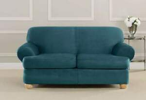 Ultimate Stretch Suede Three Piece T cushion Sofa size Slipcover peacock teal