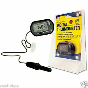 Coralife Digital Aquarium Thermometer Battery Operated Small Compact Thermometer