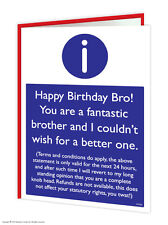 Brainbox Candy Brother Bro Birthday Greeting Cards funny rude cheeky joke humour