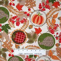 Fall Festival Fabric - Pumpkin Apple Leaves Beige - Benartex Kanvas Studio YARD