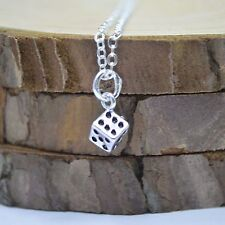 """Solid 925 Sterling Silver Small Cute Dice Pendant 17.7"""" Chain Necklace Gift"""
