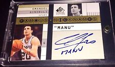 "Manu Ginobili * JERSEY# 20/25 * 1/1 ""Manu"" Inscription Auto Famous Nicknames"