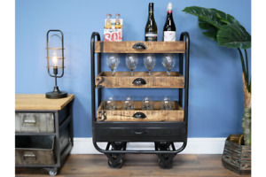 Industrial Open Drawer / Drinks Trolley - Iron Frame & Wood Shelves