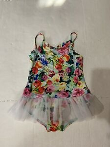 Girls Size 6 Seafolly australia Swimsuit Floral Design With Tulle Skirt, Tutu