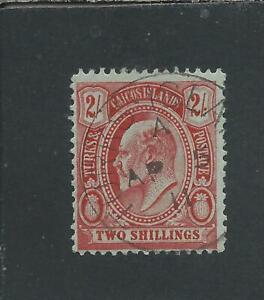 TURKS & CAICOS IS 1909-11 2s RED/GREEN FU SG 125 CAT £75
