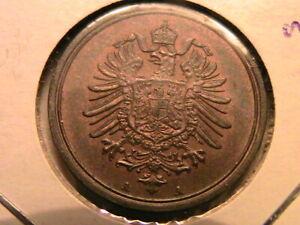 1889-A German Empire Pfennig Ch R&B Unc Lustrous Original Germany Pfenning Coin