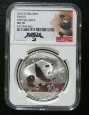 2016 China 10 Yuan Panda Silver 1 Oz NGC MS70 with Kung Fu Panda 3 logo 'Rare'