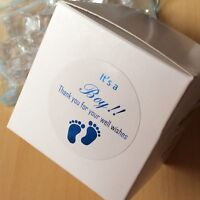 It's a boy baby shower Gift Stickers white round thank you blue foil Stickers