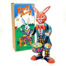 DRUMMING RABBIT TIN TOY Wind Up Moving Bunny Retro Vintage Style Collectible