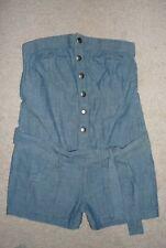 Express Blue Strapless Romper Jumper Short Shorts Cotton Denim Snap Front Size S