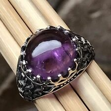 Natural Cabochan Amethyst 925 Solid Sterling Silver Men's Solitaire Ring 9