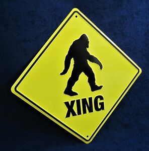 SASQUATCH Xing - *US MADE*  Embossed Metal Sign - Man Cave Garage Shop Bar Decor